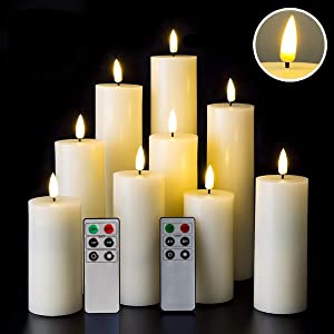 Eywamage Tall Flameless Pillar Candles Flickering Real Wax LED Candles with Remote Timer 9 Pack Ivory 2 Inch Diameter