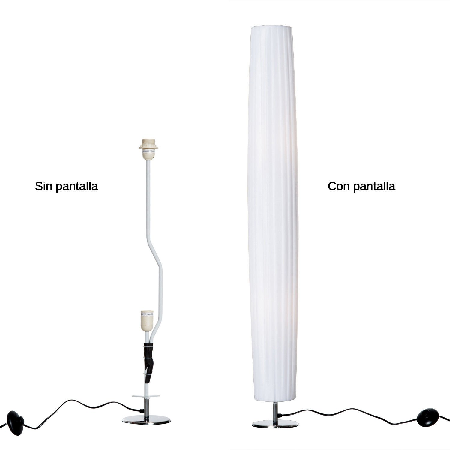 HomCom Lámpara de Pie Moderna con 2 Luces E27 40W y Pulsador de Pie con Base de Acero Inoxidable 120cm - Color Blanco