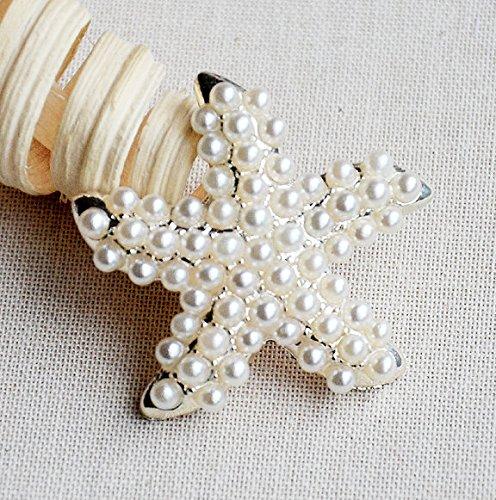 Button Embellishment Crystal Starfish Wedding Rhinestone Brooch Bouquet Invitation Cake Decoration BT567 ()
