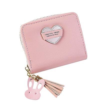 9c631582096a Amazon.com: Women Small Wallet Lady Mini Purse Bifold Leather Short ...