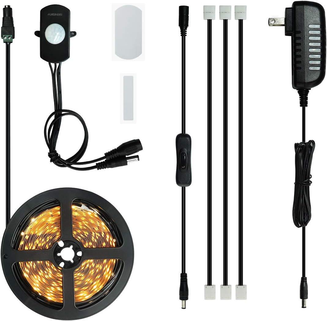 Sensky Motion Activated LED Strip Light, Motion Sensor Lighting Kit for Under Cabinet, Under Bed, Gun Safe, Pantry, Kitchen, Stairs, Closet Lights 19.7FT,3000-3500K