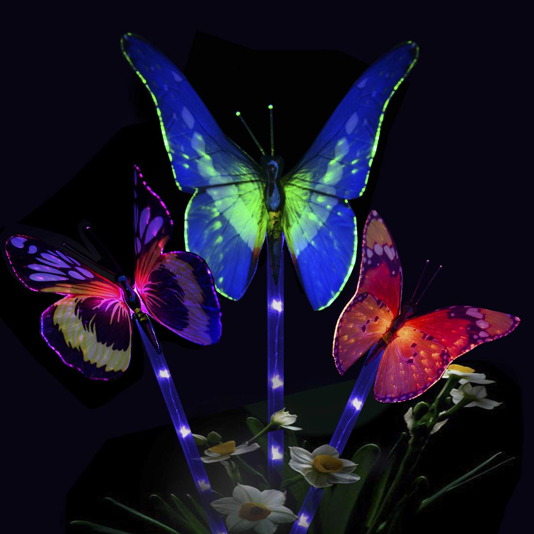 Solarmks Solar Lights Outdoor Butterfly LED Garden Decorative Light,with a Purple LED Light Stakes Multi-Colored Changing Fiber Optic Butterfly Landscape Lighting for Garden Patio Backyard,Pack of 3