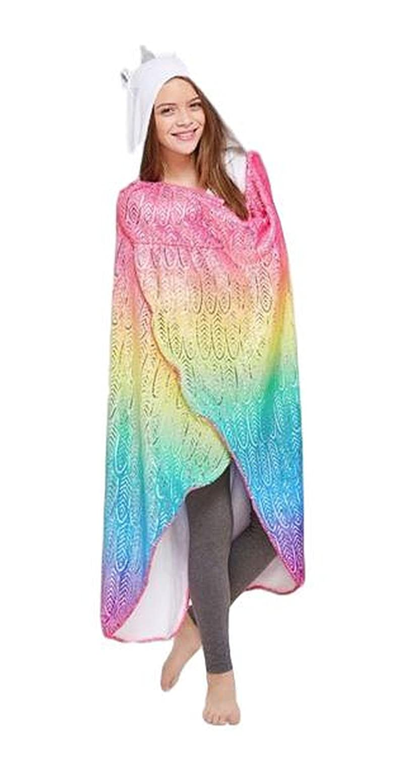 Justice Unicorn Hooded Blanket for Girls Rainbow Colors Soft Plush with 3D Features