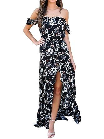 Amazon.com: Para mujer Off el hombro vestido floral Casual ...