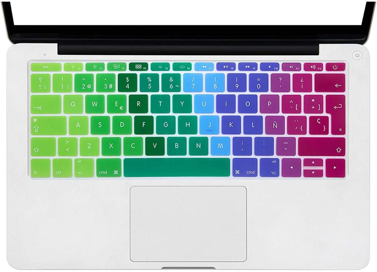 2016 Version, No Touch Bar for MacBook 12 Inch A1534 for Mac Pro 13 A1708 Spanish Keyboard Cover Silicone Skin Rainbow-Ombre Purple