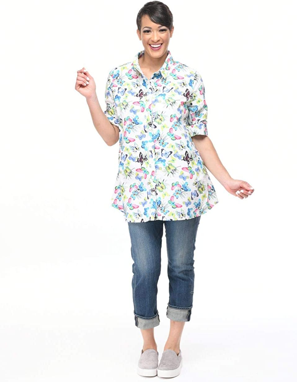 Stevie Button Down in White Butterfly Print