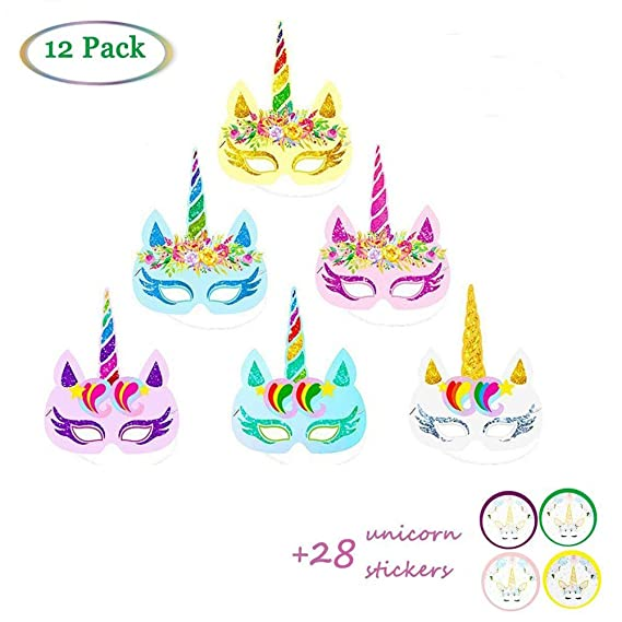 Amazon.com: Suppar Rainbow Unicorn Party Paper Mask, Party Hats for Kids Birthday Unicorn Party Favors 12 PCS: Toys & Games