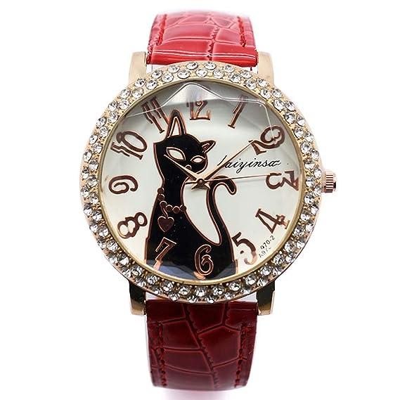 Bonito Reloj de Pulsera, Colorido Cristal Gato Esfera Redonda de Cuarzo Reloj para Hombre Mujer