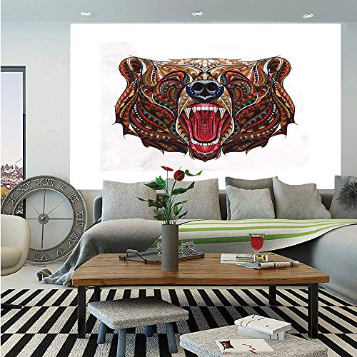 - Bear Huge Photo Wall Mural,Patterned Head of Wild Predator Growling African Eastern Motifs Ethnic Ornaments Decorative,Self-adhesive Large Wallpaper for Home Decor 100x144 inches,Brown Red Blue