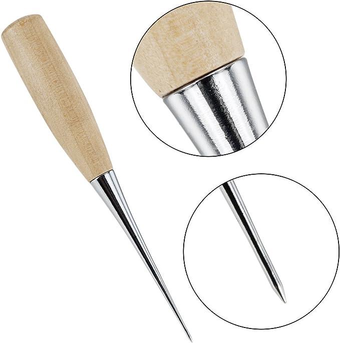 TILY 7 Pezzi Aghi per Cucire con Filetto Cuoio Cerato Punteruolo e Ditale per La Riparazione Delle Pelle