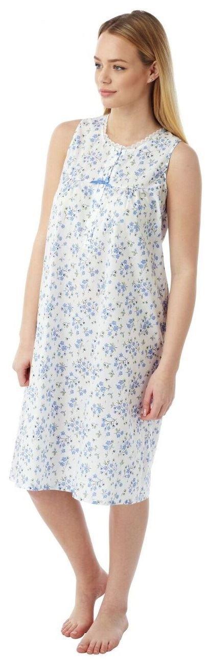 Ladies Marlon Poly Cotton Sleeveless Nightie Nightdress MN16 Size 10-30