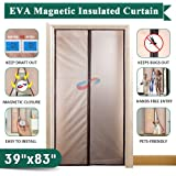 """Insulated Magnetic Door Curtain 39"""" x 83"""", IKSTAR EVA Thermal Plastic Door Cover, Pets Kids Walk Through Freely, Full Frame Hook&Loop, Keep Cool Summer, Warm Winter for AC Room, Kitchen, Stair - Brown"""
