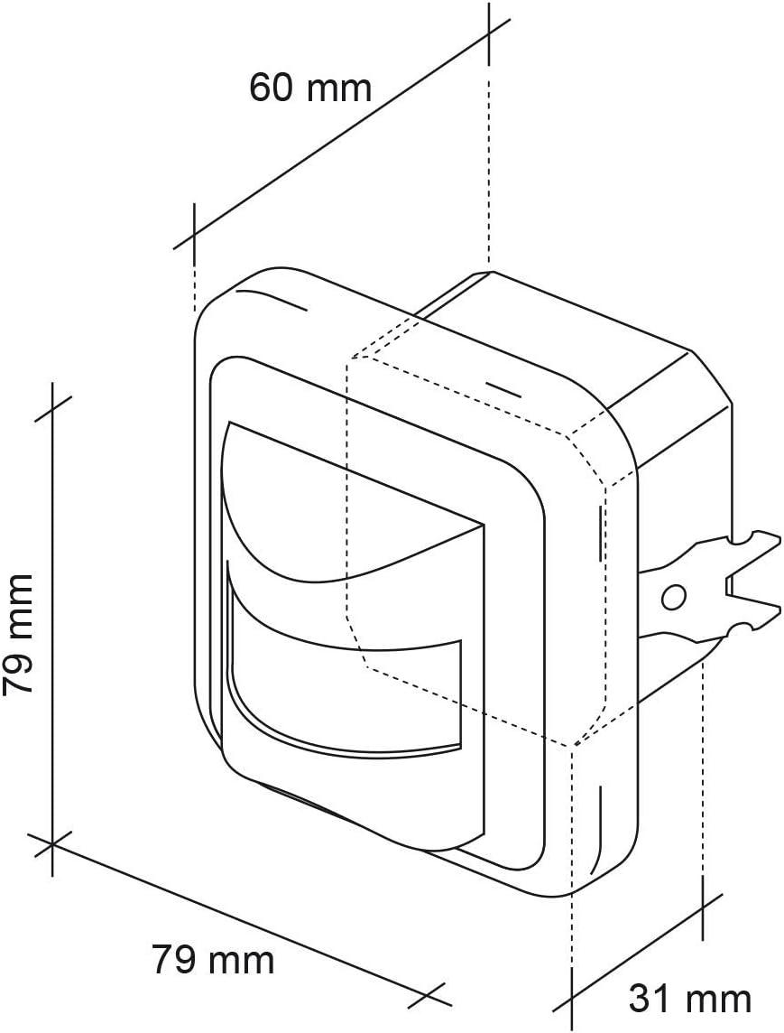 capteur Infrarouge Max sebson D/étecteur de Mouvement int/érieur port/ée 9m//160/° 100W Montage Mural encastr/é programmable Convient LED