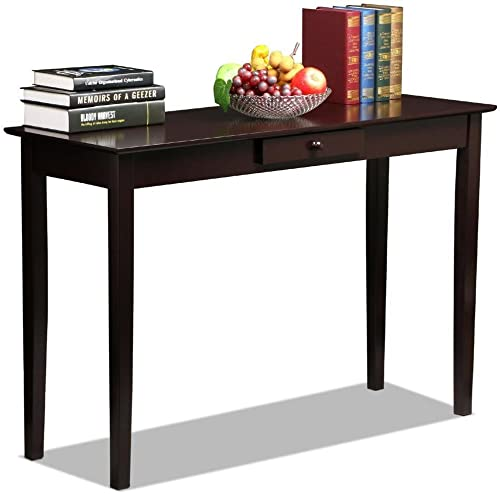 Topeakmart Wood Console Table Hallway Entryway Sofa Table with One Drawer for Living Room, Espresso