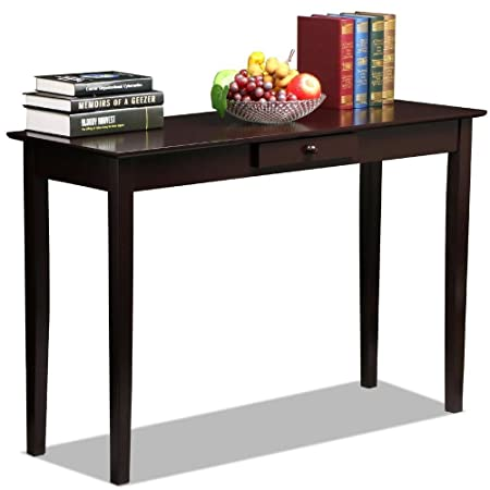 Topeakmart Wood Console Table Hallway Entryway Sofa Table with One Drawer, Espresso