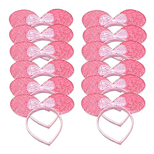 Set of 12 Mickey Minnie Mouse Costume Deluxe Pink Glitter Ears Headband Pink Sequin Bow Girls Birthday Party Hairs Accessories Baby Shower Headwear Halloween Party Favors Decorations (Pink Sequin) -