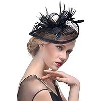 StageOnline Sombrero Tocado Pelo Elegante Pluma Clip Hat Boda Coctel Malla Neto Velo Diadema para Mujer