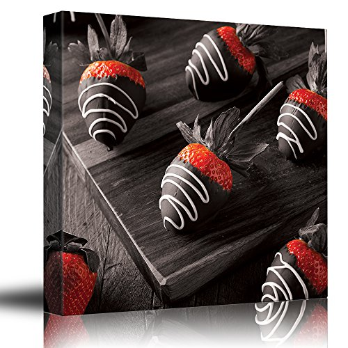 Wall26 - Romance Series - Black white and red color pop - Choclate covered strawberries - Ruby red - Passion - Canvas Art Home Decor - 12x12 inches