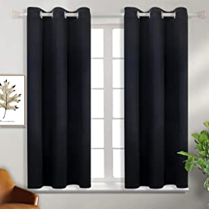 BGment Blackout Curtains - Grommet Thermal Insulated Room Darkening Bedroom and Living Room Curtain, Set of 2 Panels (38 x 54 Inch, Black)