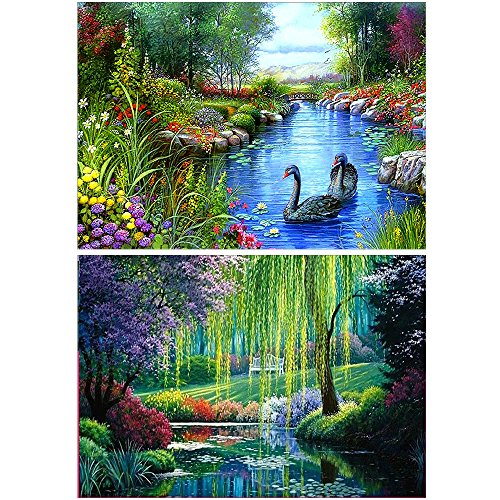 Coopay 2 Pack 5D DIY Diamond Embroidery Painting Set Natural Scenery Pictures Decorating Wall Stickers, Willow Landscape and Swan(30X40cm/12X16inch)