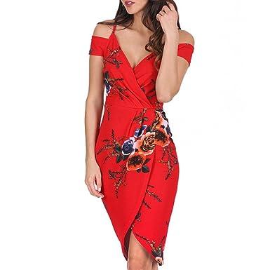 Womens Red Formal Floral Print V Neck Off Shoulder Sleeveless