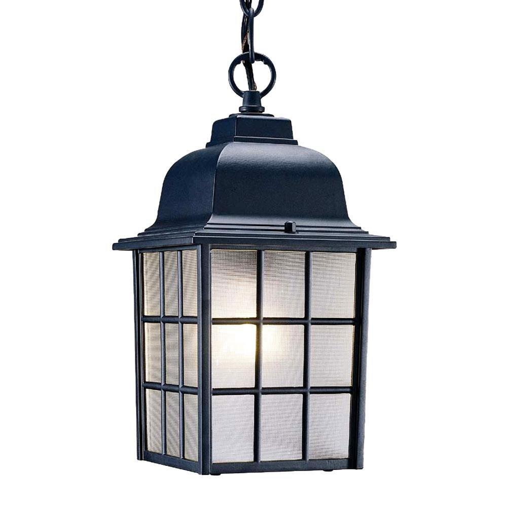 Acclaim 5306BK Nautica Collection 1-Light Outdoor Light Fixture Hanging Lantern, Matte Black