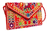 Handicraft Embroidered Indian Bag, Cluch, Evening Bag & Cross-Body Bag (Red)