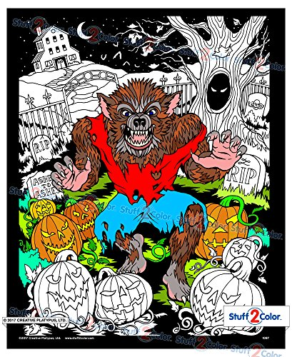 Werewolf - Fuzzy Coloring Poster (Halloween Wolf Coloring Pages)