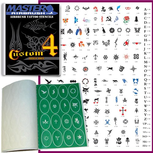 Master Airbrush Brand Airbrush Tattoo Stencils Set Book #4 Reuseable Tattoo Template Set, Book Contains 160 Unique Stencil Designs, All Patterns Come on Vinyl Sheets with a Self Adhesive Backing. ()