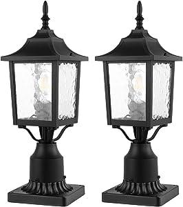 CINOTON Outdoor Post Light, 2-Pack Post Lantern with 3-Inch Pier Mount Base, Matt Black Pillar Lamp Post Fixtures with Water Ripple Glass, Post Lantern Outdoor for Patio Porch Garden Post Pole Mount