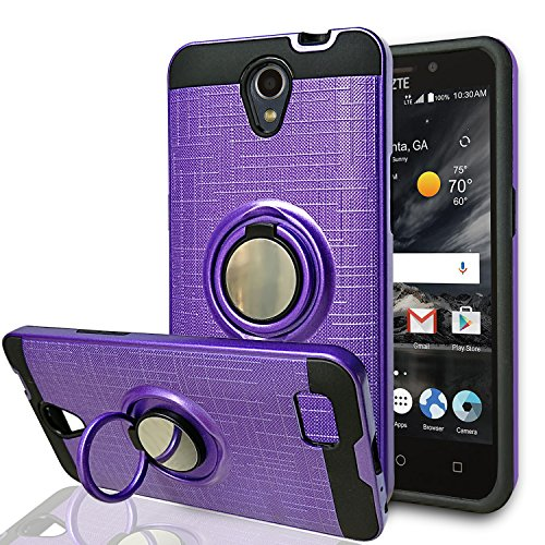 Price comparison product image ZTE ZFIVE 2 / Prestige / Prestige 2 / Avid Plus/ Maven 2/ Sonata 3/ Avid Trio Phone Case,Ymhxcy 360 Degree Rotating Ring & Bracket Dual Layer Resistant Back Cover for ZTE N9136-ZH Purple