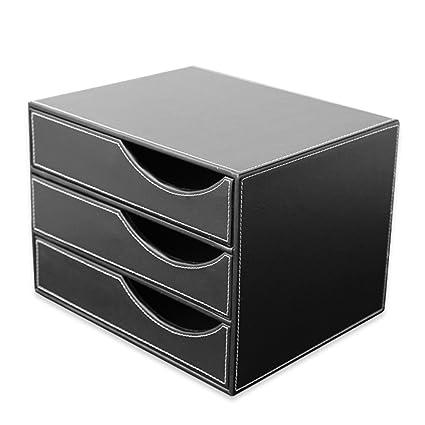Merveilleux KINGFOM™ Office Desk Decor PU Leather File Cabinet/Storage Box, 3 Drawer  Wooden