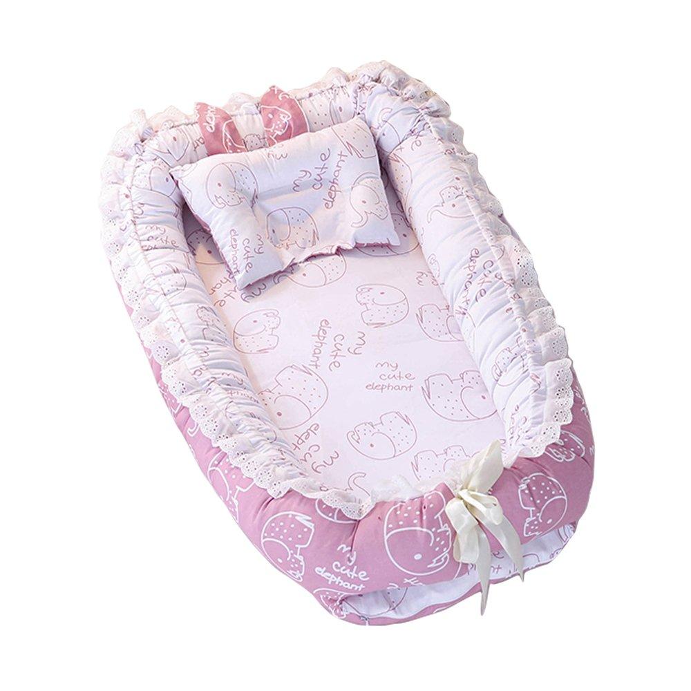 Travel Bed, Wasyoh Baby Newborn Bassinet Sleeping Breathable Soft Nest Cushion - 0-24 Months Infant Lounger Organic Cotton/Washable (Elephant blue)