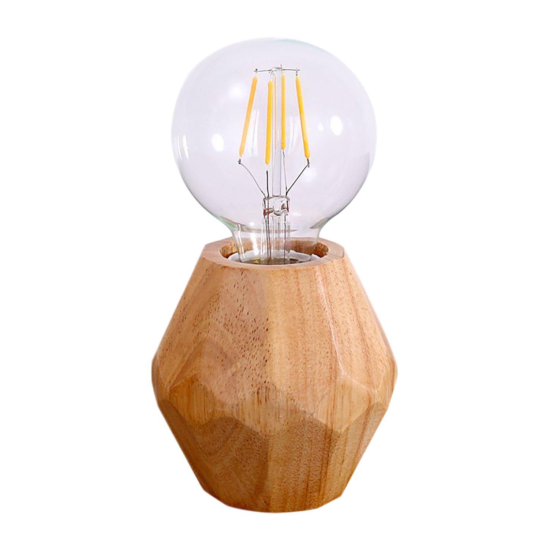 Mstar Lampada da tavolo senza paralume, lampada da comodino con interruttore E27,lampada da tavolo stile rustico, in legno colore naturale, per camera da letto, soggiorno, loft EUT6229