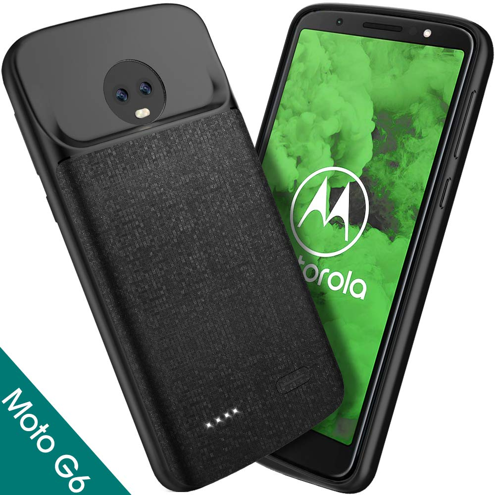 Moto G6 Battery Case, NEWDERY 4000mAh Moto G6 Slim Extended Charger Case  with TPU Raised Bezels, Rechargeable Charging Case Cover for Motorola Moto