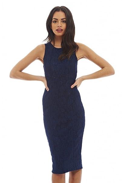 99fcc34228c Amazon.com  AX Paris Women s Ladder Detail Lace Midi Dress  Clothing