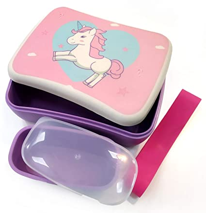 Conjunto Sandwichera y Tupper de bambú. Material ecológico sin BPA, Apto para lavavajillas. Lonchera Infantil, niños, bebé (Unicornio)