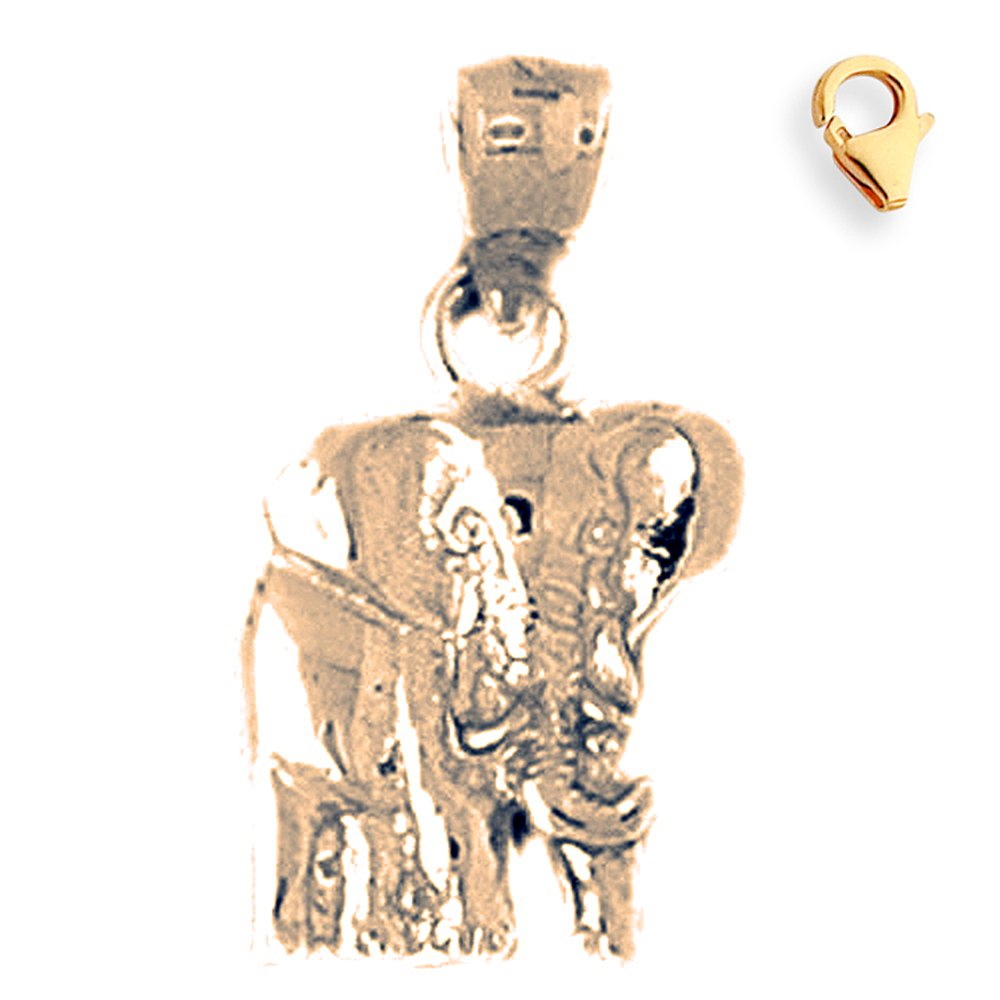 20mm Silver Yellow Plated Elephant Charm