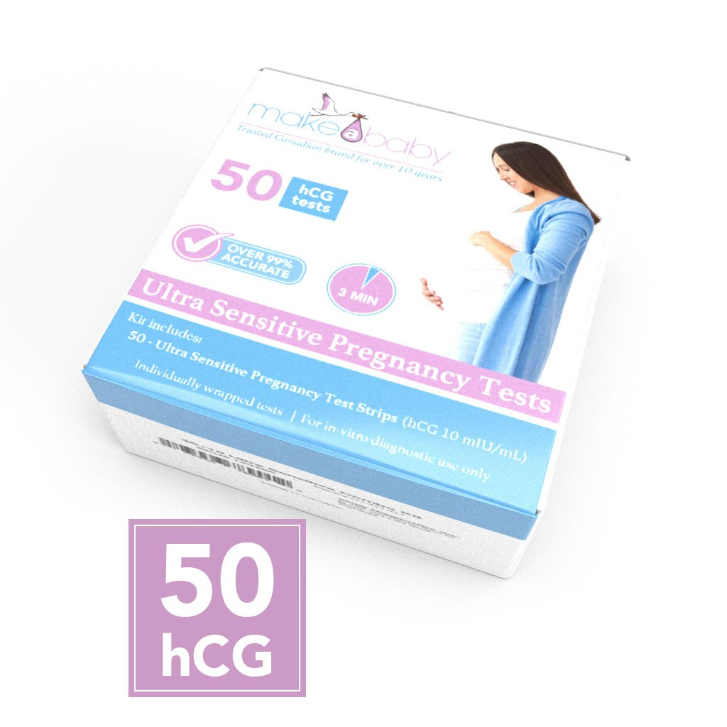 Make A Baby Ultra Sensitive Pregnancy Tests - Bulk 50 hCG Test Strips -  Earliest Detection Available - Trusted Canadian Brand For Over 10 Years,