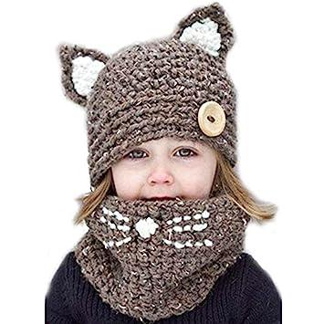 7cff5057b VAQM Kids Hat Girls Boys Winter Hats Warm Earflap Hood Scarves Animal Hat  Scarf Beanie Scarf Knitted...