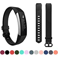 for Fitbit Alta HR Replacement Wristband - Feskio Classic Soft Silicone Metal Clasp Watch Buckle Wrist Strap Smartwatch Sport Band for Fitbit Alta HR Fitness Activity Tracker (Small or Large Size)