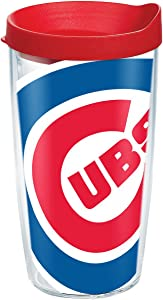 "Tervis 1091932""MLB Chic Cubs Colossal"" Tumbler with Red Lid, 16 oz, Clear"