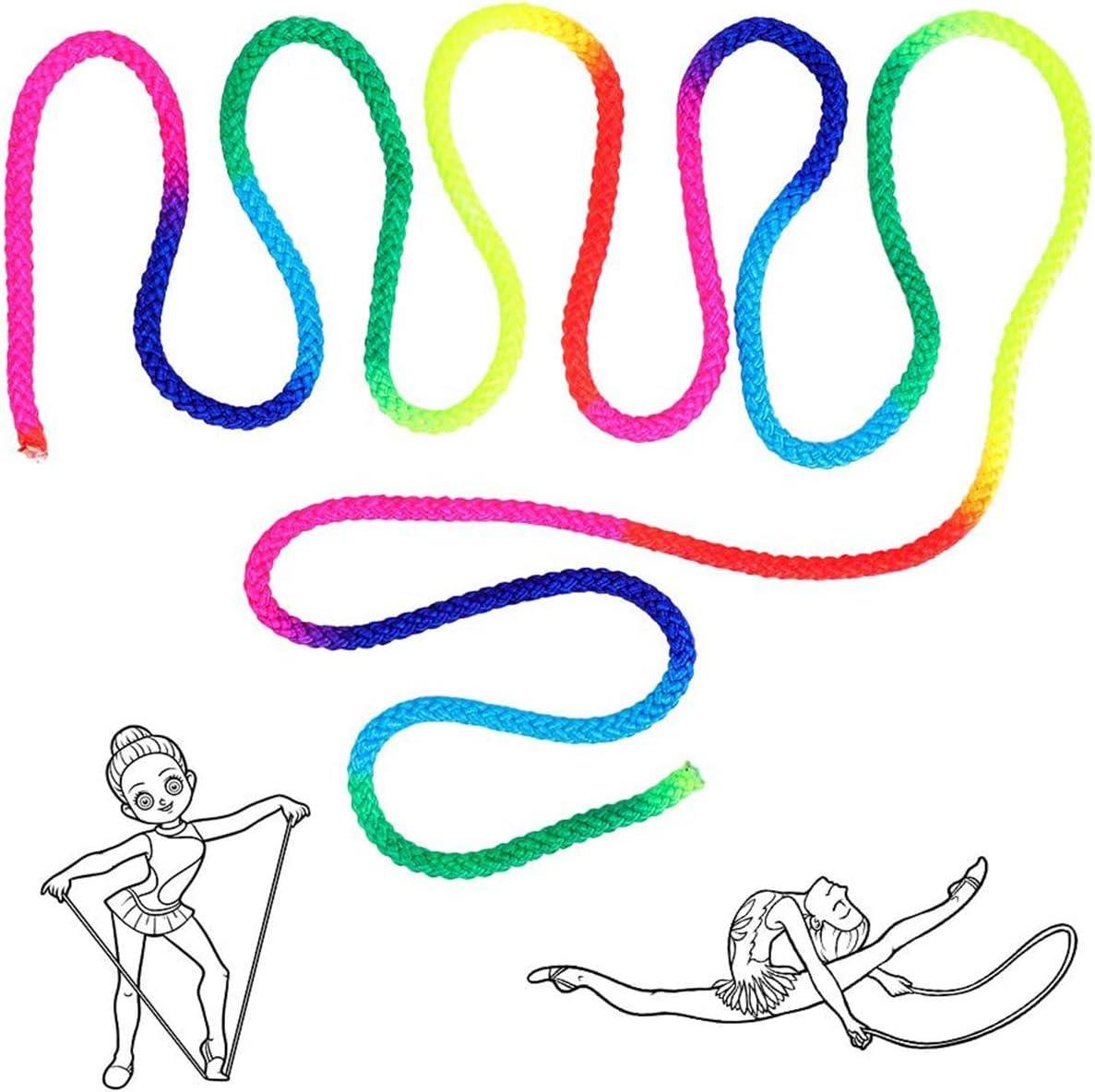 Counius Ginnastica Ritmica Corda Rainbow Color 300cm Formazione Competitiva Gioco Nylon Saltare Corda,3 Mini 40 cm Fitness Corda per Bambino Adulto Esercizi Aerobica