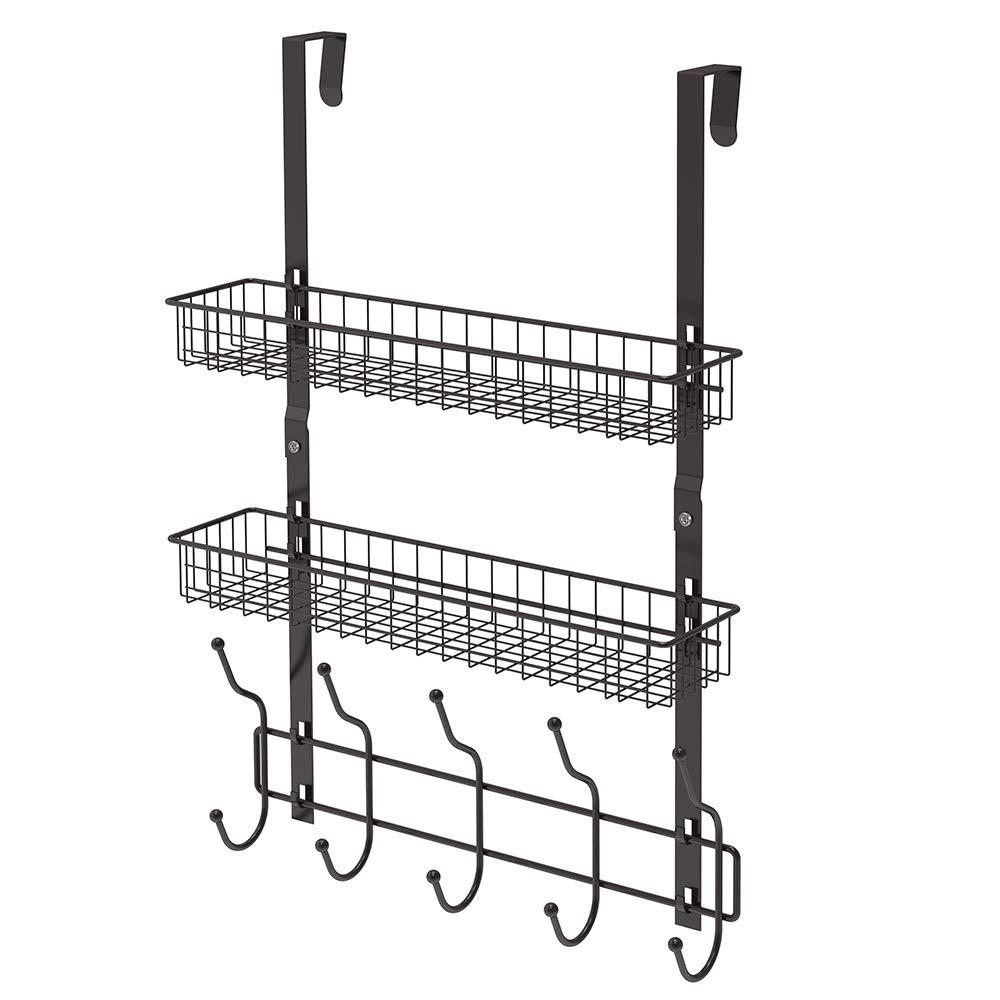 NEX Upgrade Over The Door Hook Shelf Organizer 5 Hooks with Basket Storage Rack for Coats & Towels (Dark Brown- 2 Basket)