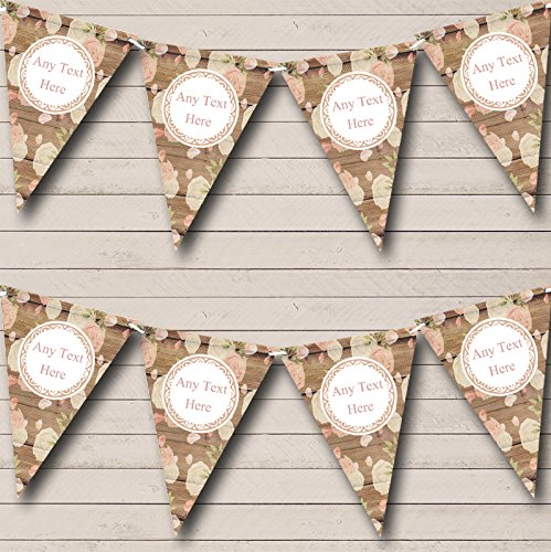 Shabby Chic Vintage Wood Roses Personalized Anniversary Party Bunting Banner