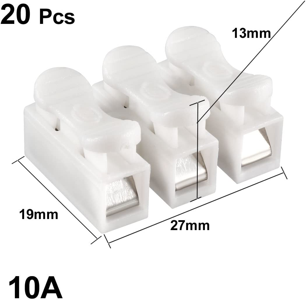 20pcs CH3 Spring Wire Connectors Electrical Cable Clamp Terminal Block Connector