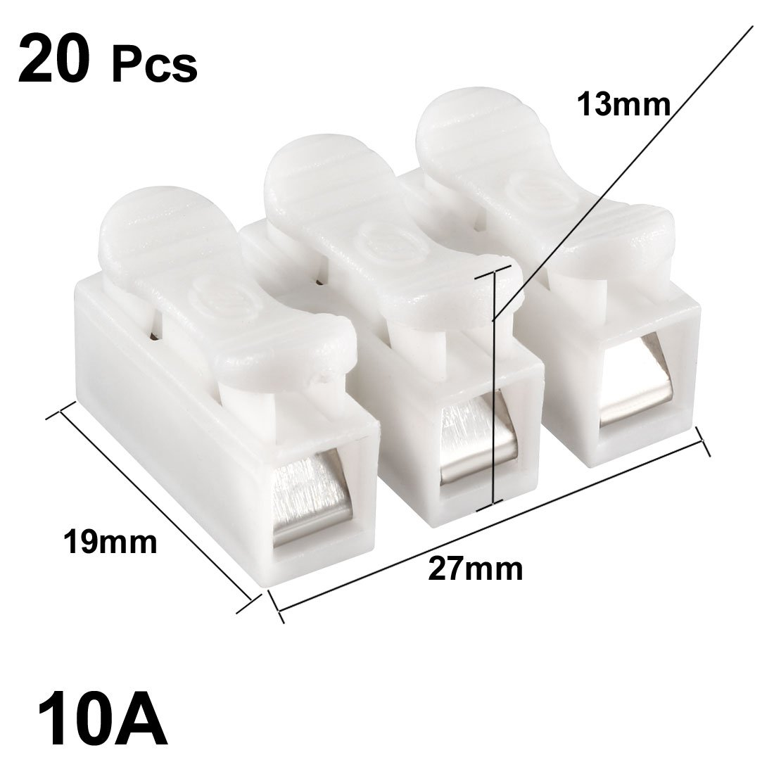 uxcell 10pcs CH3 Spring Wire Connectors Electrical Cable Clamp Terminal Block Connector LED Strip Light Wire Connecting a18042700ux0256