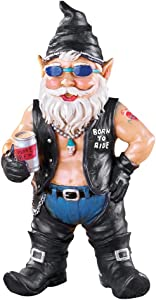 Collections Etc Biker Garden Gnome Figurine with Motorcycle Leather Gear and Tattoos - Hand-Painted Yard Statue, Biker Dude