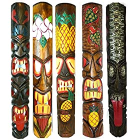 Set of 5 40″ Polynesian Hawaiian Tiki Bar Style Wall Masks Island Art