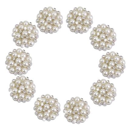 Image Unavailable. Image not available for. Color  CJESLNA 10pcs Rhinestone  Faux Pearl Flower Embellishments Button ... 09c298c09980